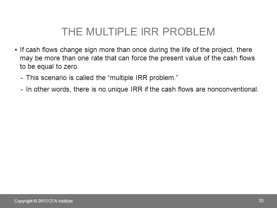 The multiple IRR problem