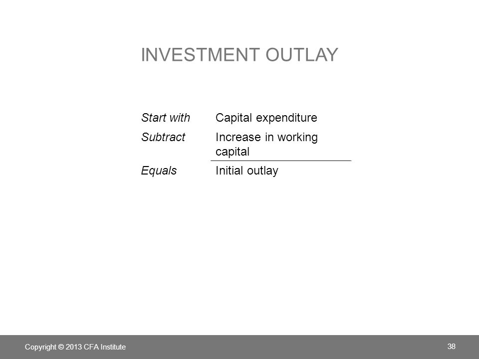 Investment outlay Start with Capital expenditure Subtract