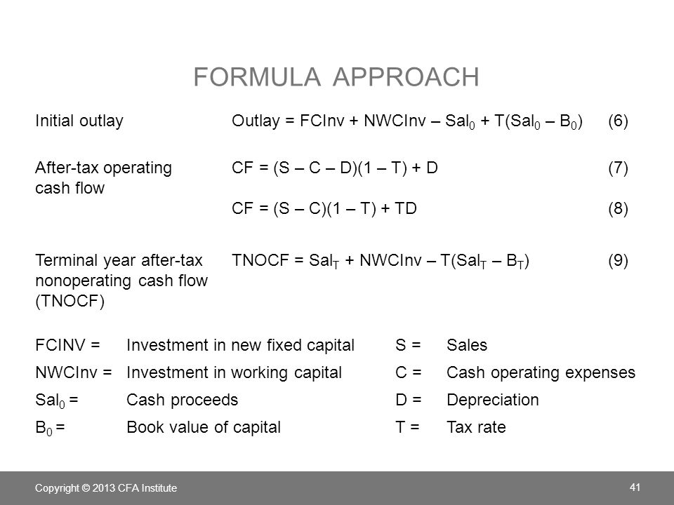 Formula approach Initial outlay