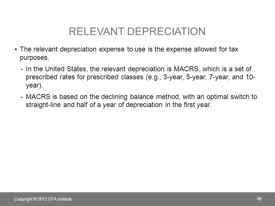 Relevant depreciation