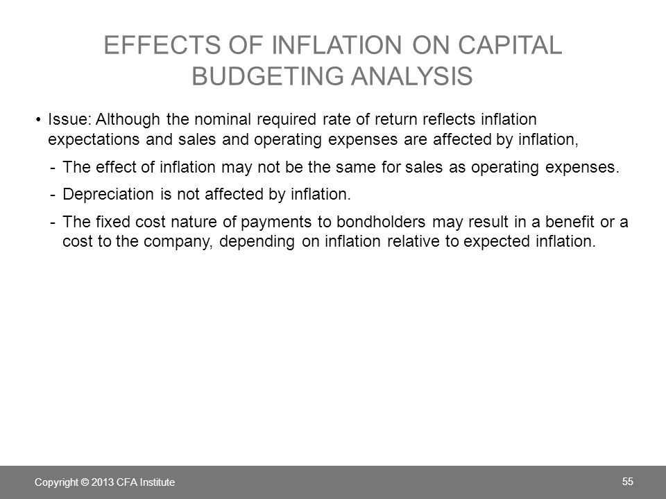 Effects of inflation on capital budgeting analysis