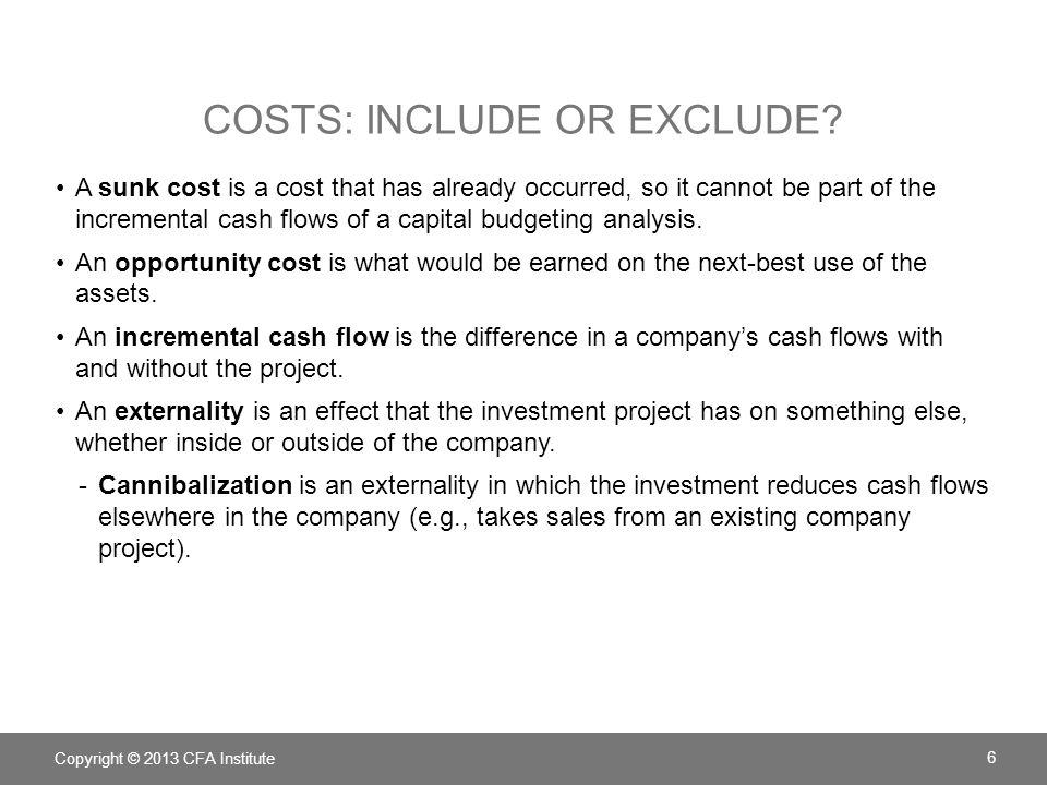 Costs: include or exclude