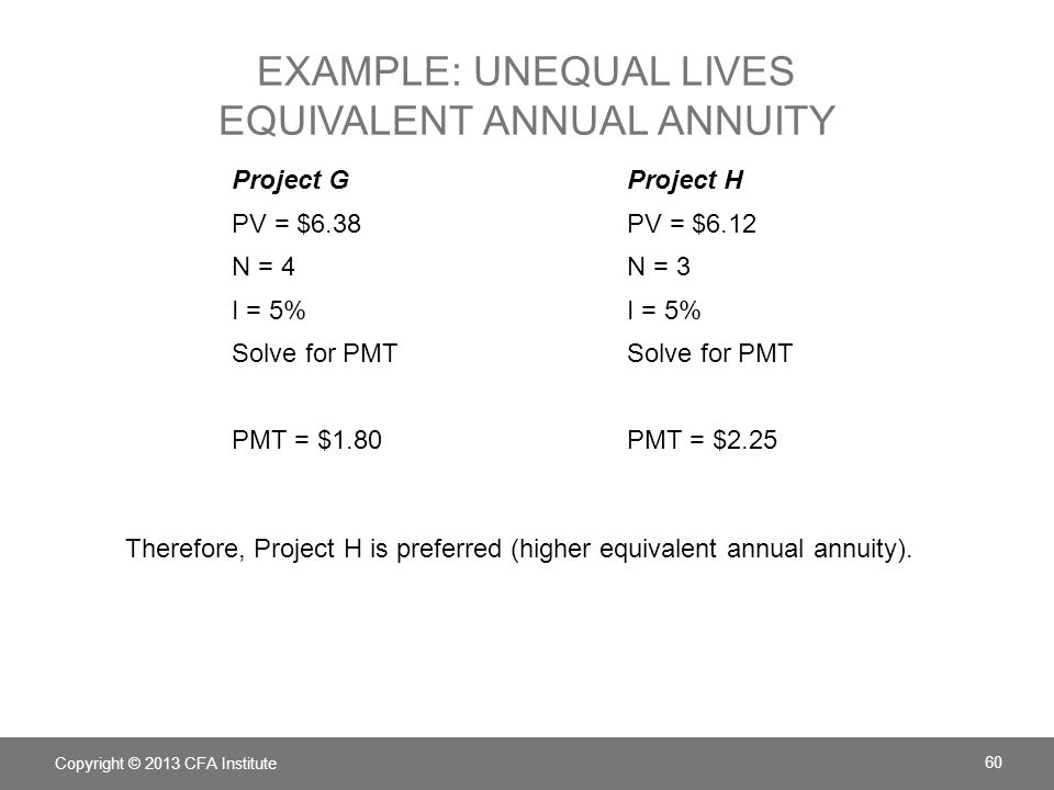 Example: Unequal lives Equivalent annual annuity