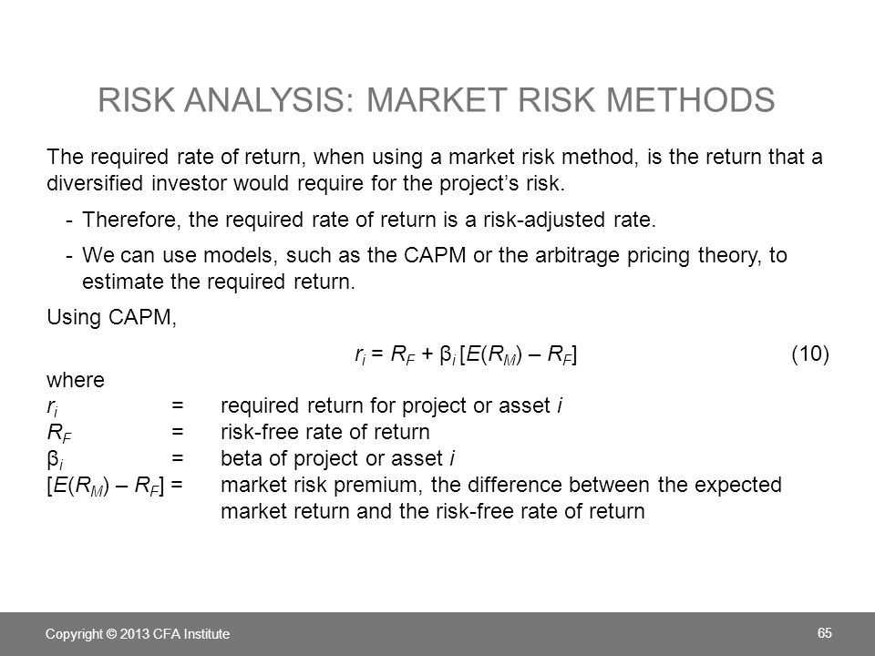 Risk analysis: Market risk methods