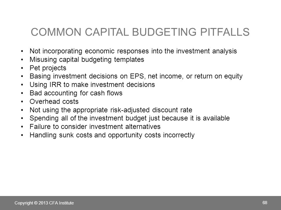 Common capital budgeting pitfalls