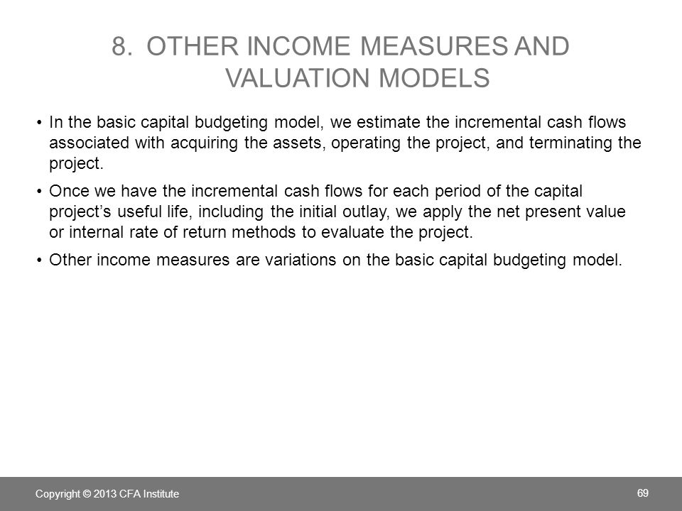 8. Other income measures and valuation models