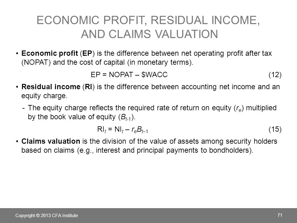 Economic profit, residual income, and claims valuation