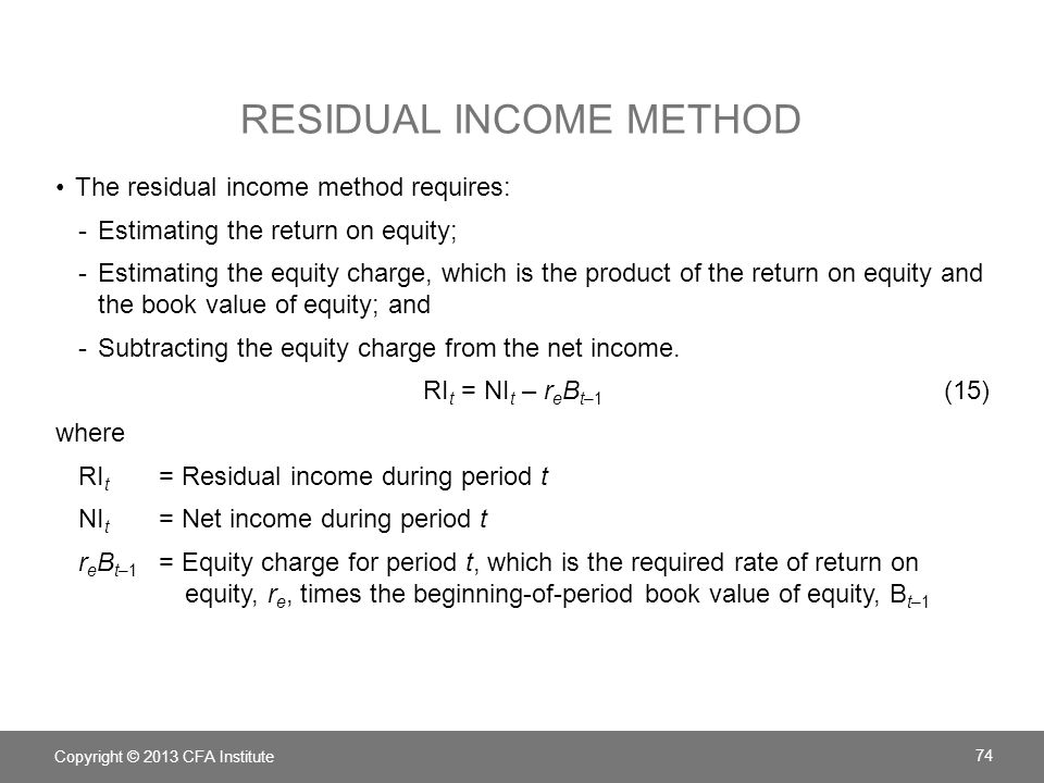 Residual income method