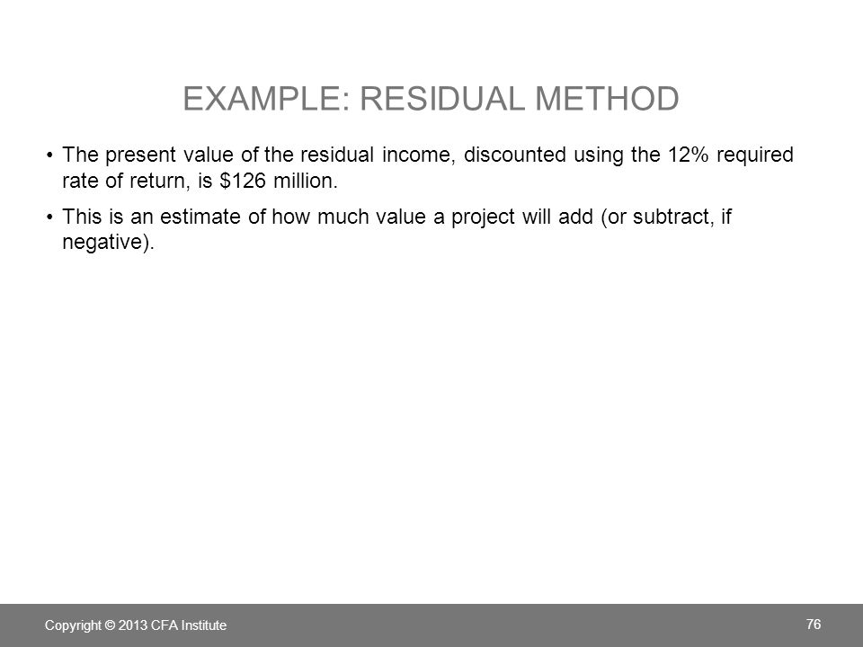 Example: Residual Method