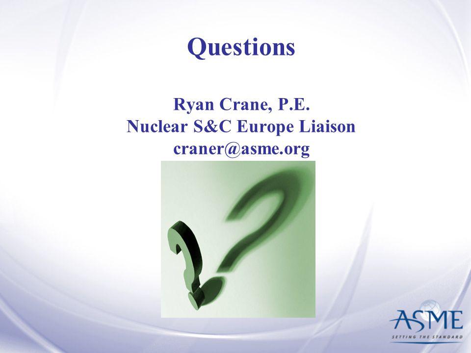 Questions Ryan Crane, P.E. Nuclear S&C Europe Liaison craner@asme.org