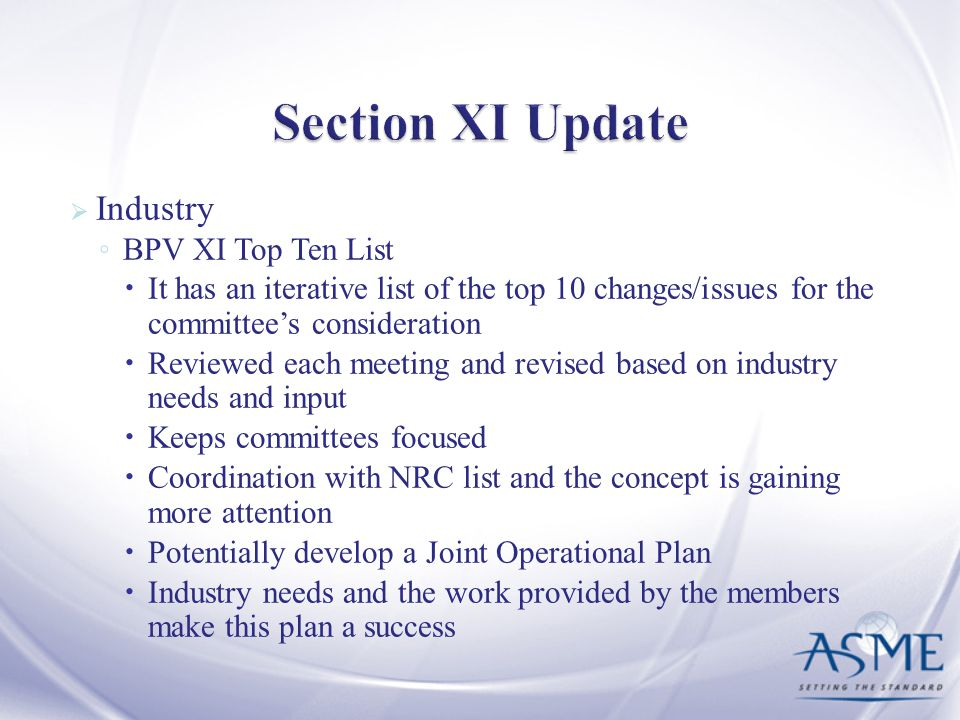 Section XI Update Industry BPV XI Top Ten List