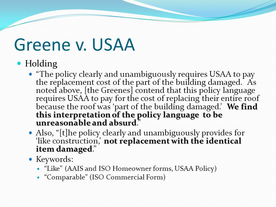 Greene v. USAA Holding.