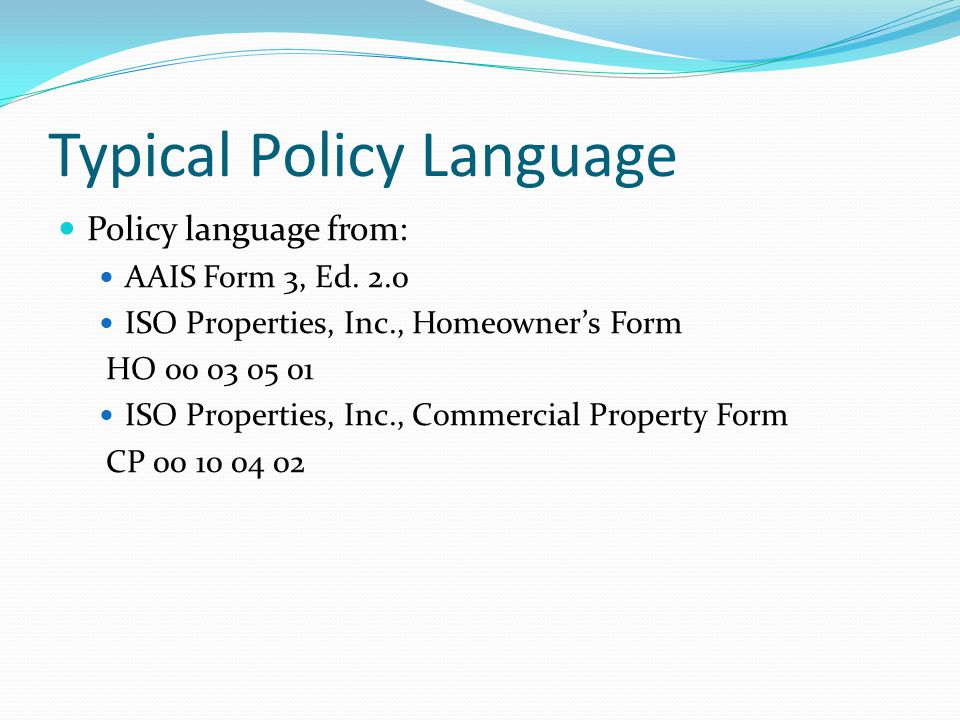 Typical Policy Language