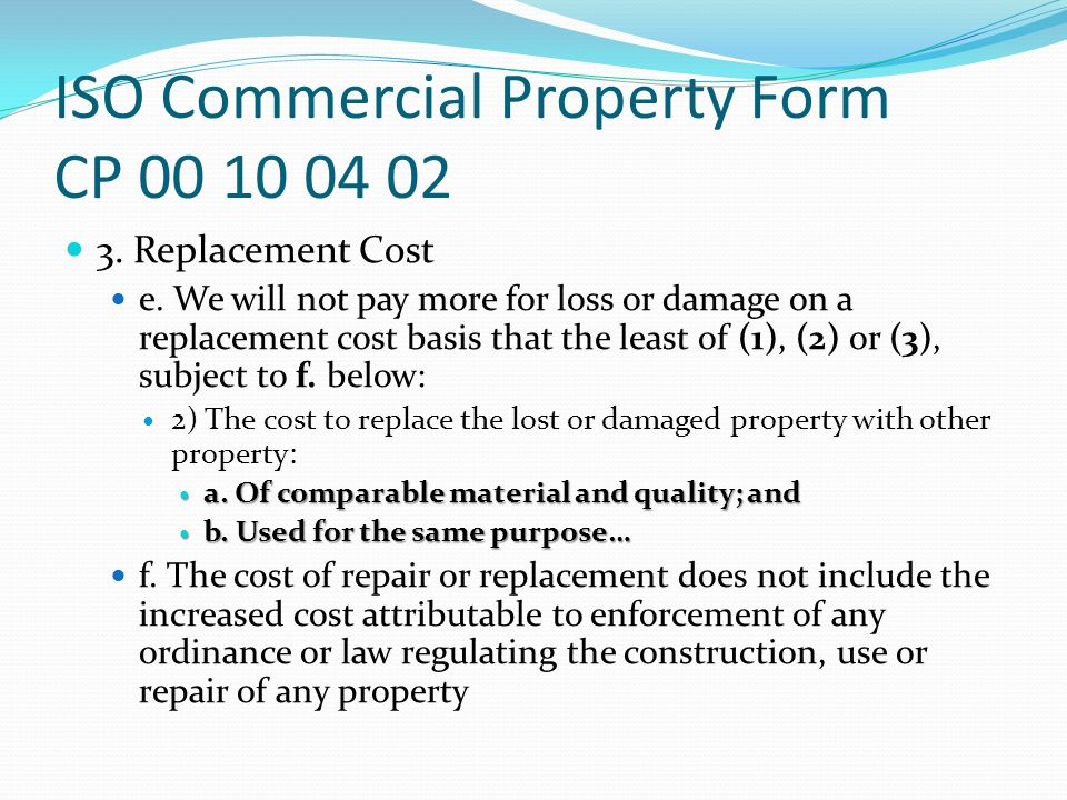 ISO Commercial Property Form CP 00 10 04 02