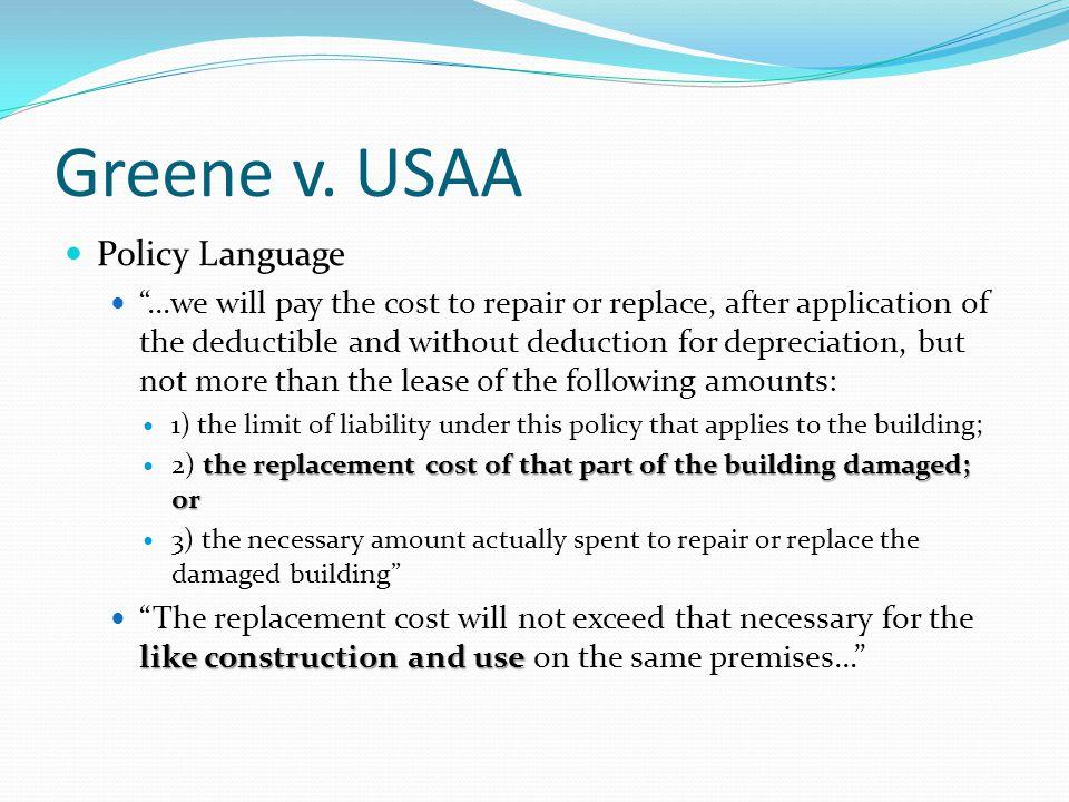 Greene v. USAA Policy Language