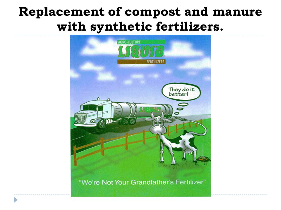 Replacement of compost and manure with synthetic fertilizers.
