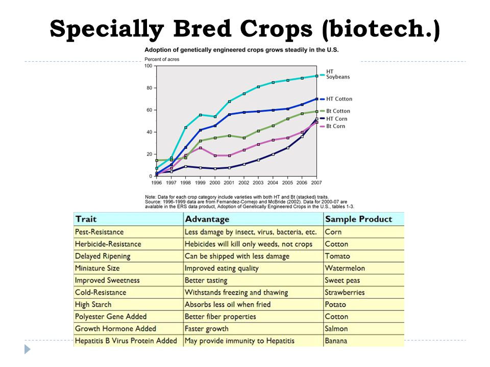 Specially Bred Crops (biotech.)