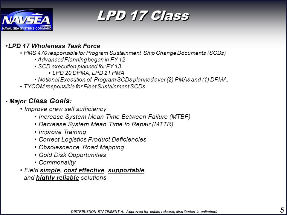 LPD 17 Class 5 LPD 17 Wholeness Task Force