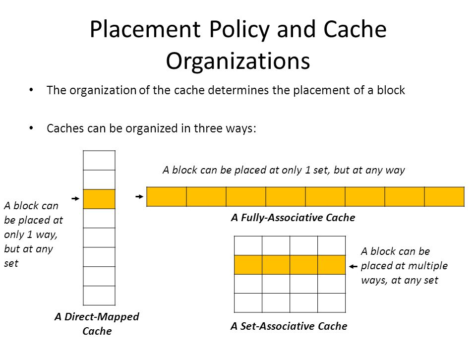 Placement Policy and Cache Organizations