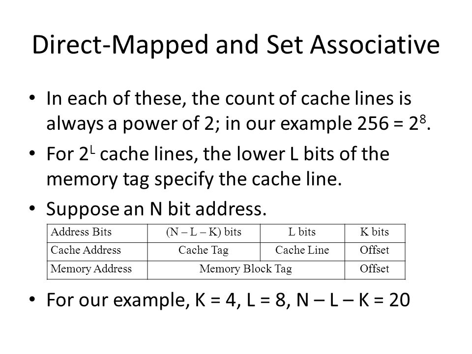 Direct-Mapped and Set Associative