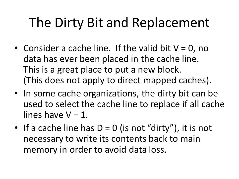 The Dirty Bit and Replacement
