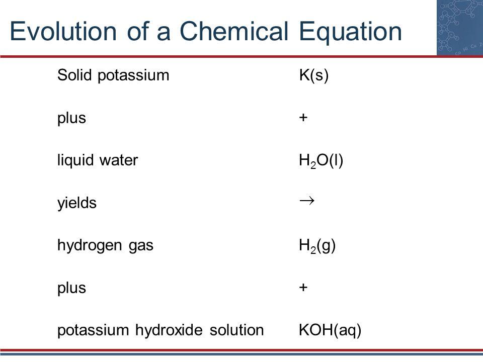 Evolution of a Chemical Equation