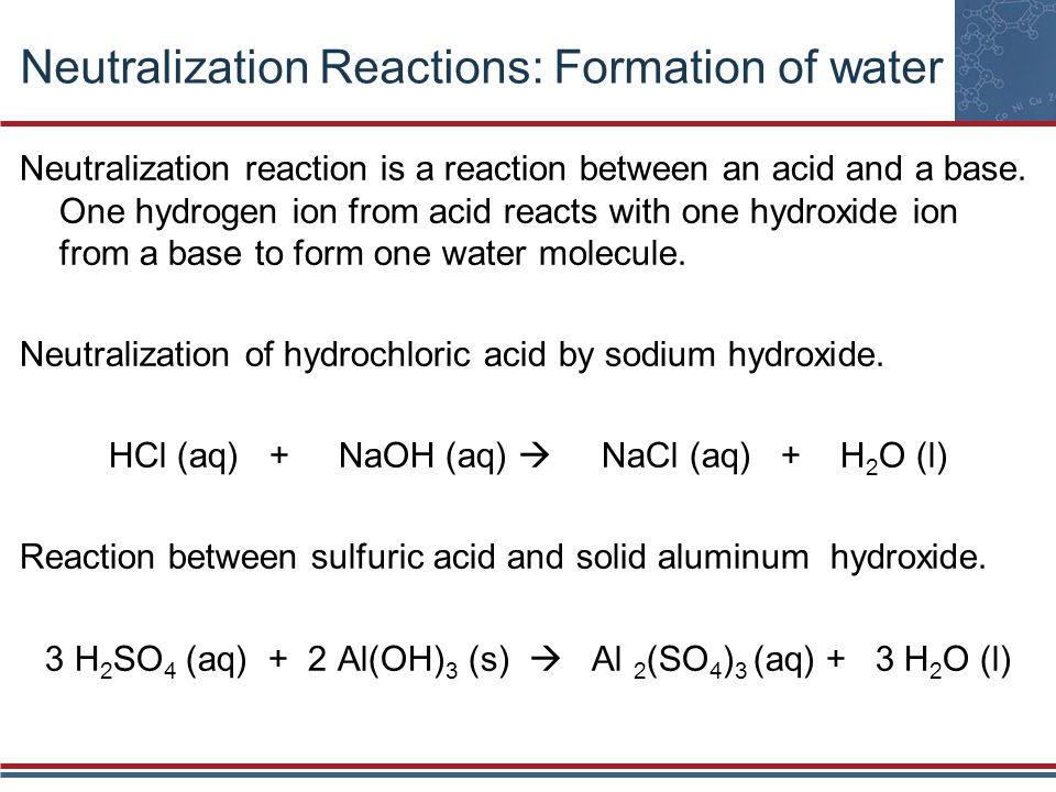 Neutralization Reactions: Formation of water