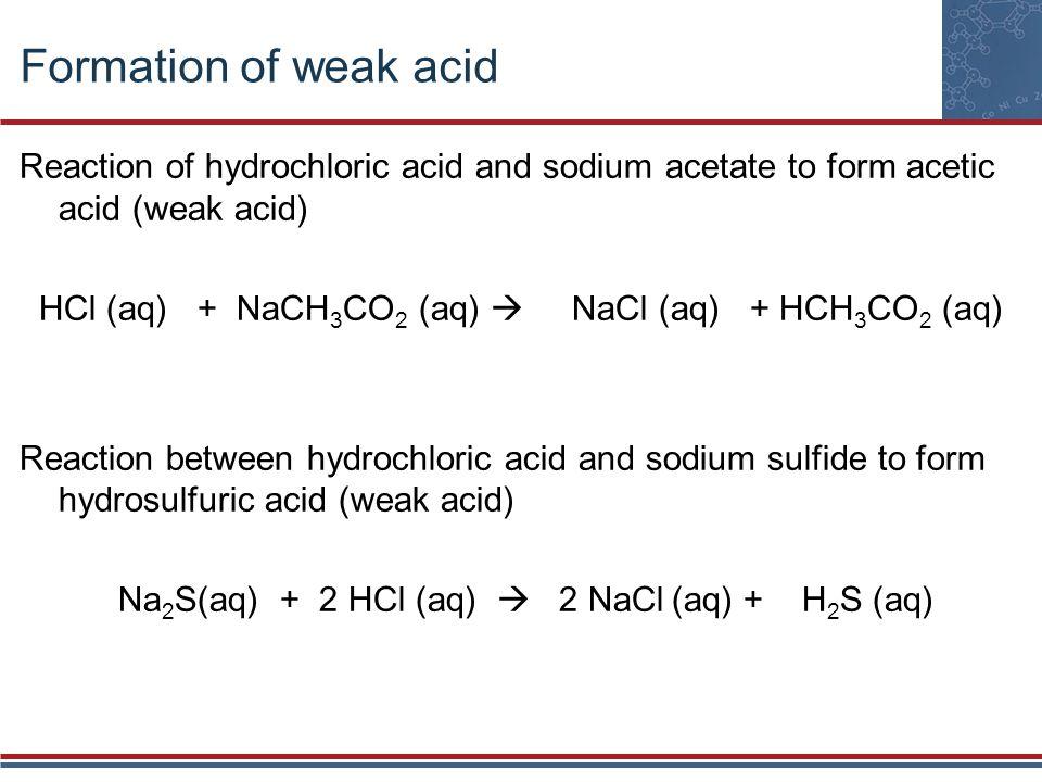 Formation of weak acid Reaction of hydrochloric acid and sodium acetate to form acetic acid (weak acid)