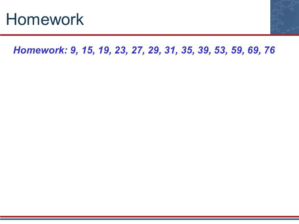 Homework Homework: 9, 15, 19, 23, 27, 29, 31, 35, 39, 53, 59, 69, 76