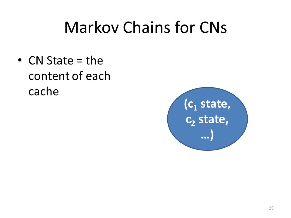 Markov Chains for CNs CN State = the content of each cache