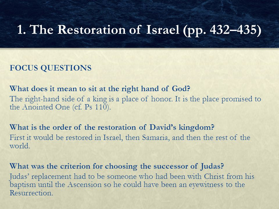 1. The Restoration of Israel (pp. 432–435)