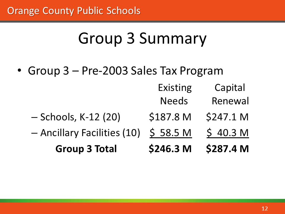 Group 3 Summary Group 3 – Pre-2003 Sales Tax Program Existing Capital
