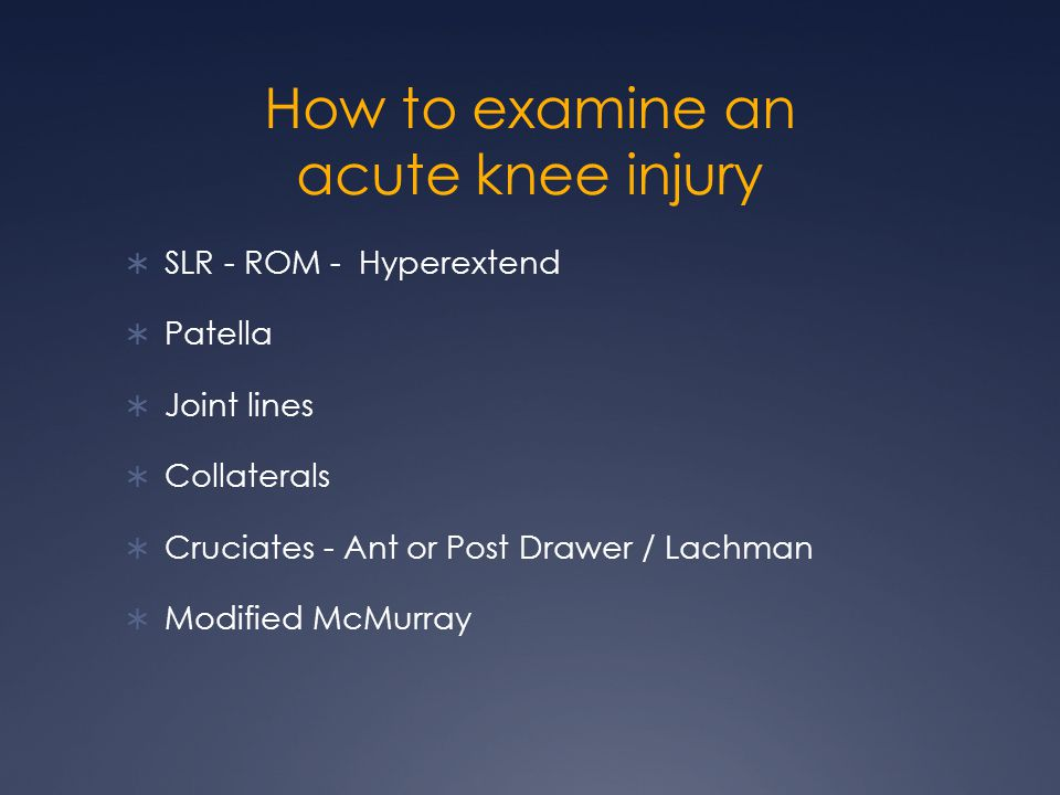 How to examine an acute knee injury