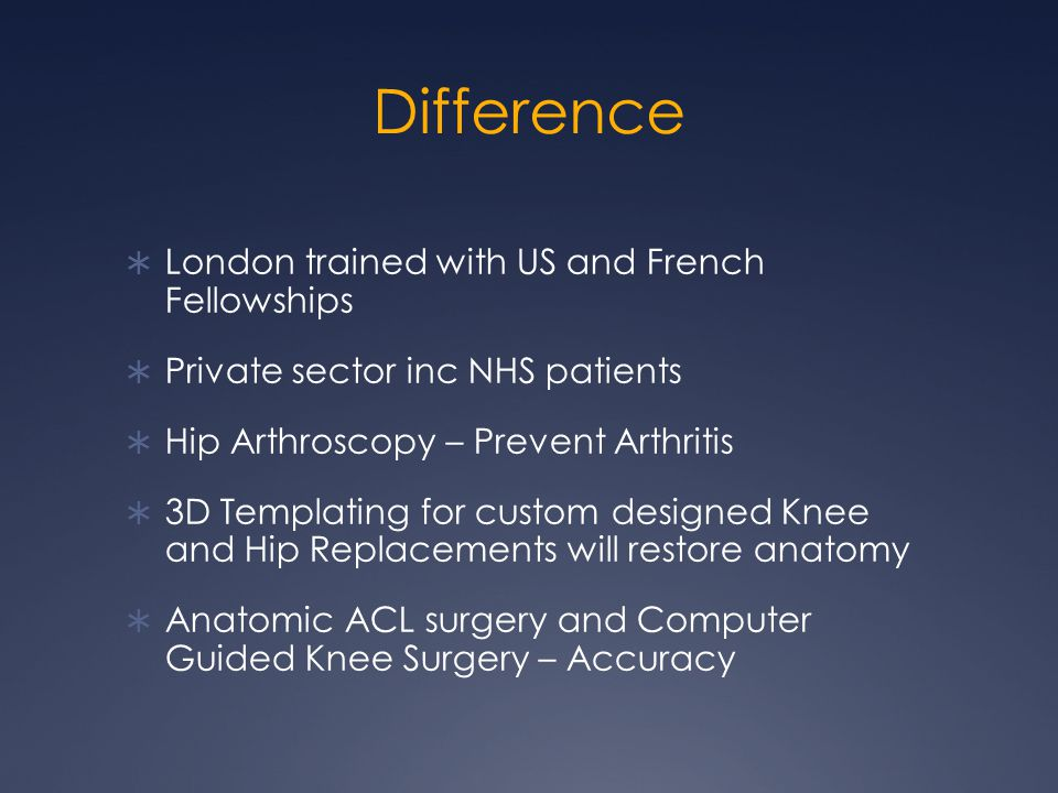 Difference London trained with US and French Fellowships