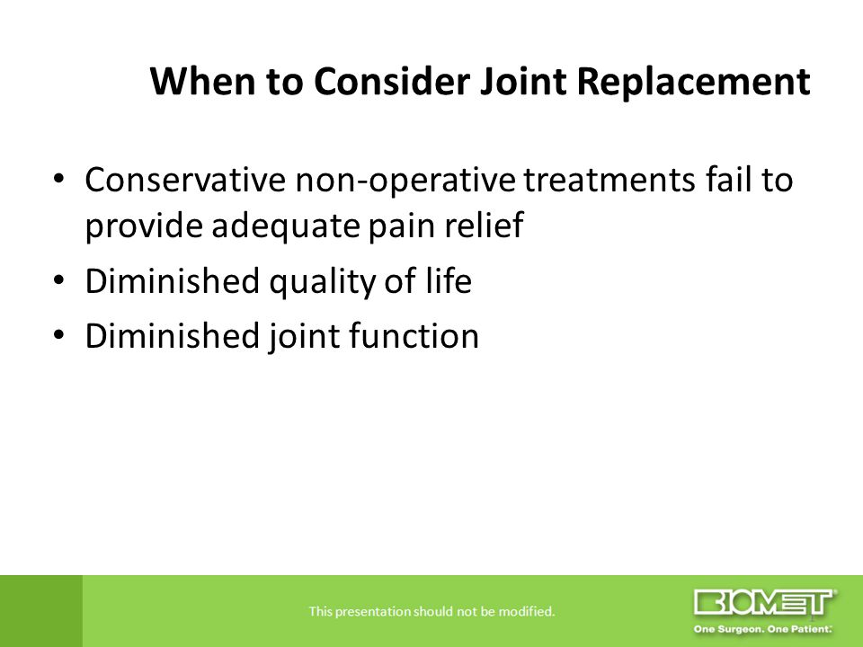 When to Consider Joint Replacement