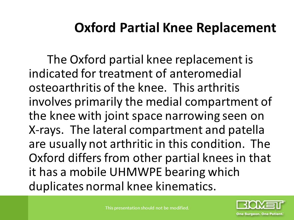 Oxford Partial Knee Replacement