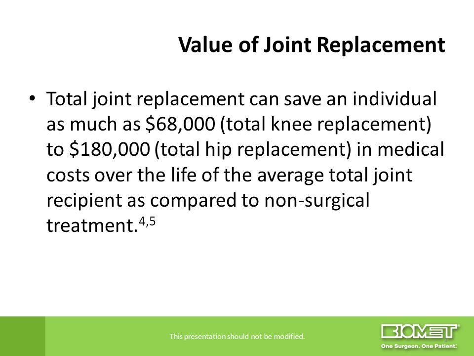 Value of Joint Replacement