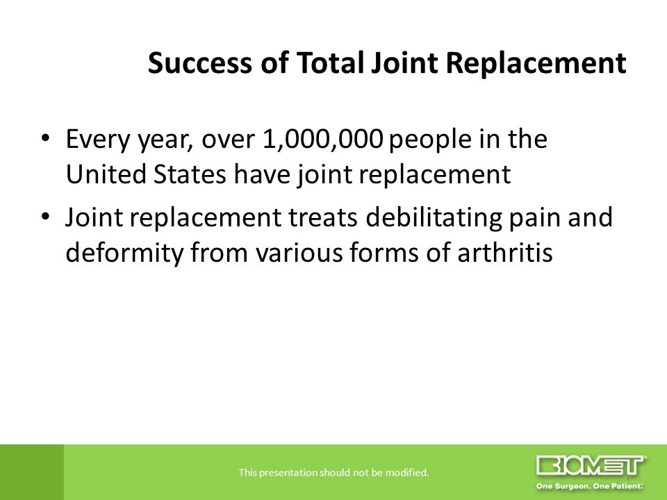 Success of Total Joint Replacement