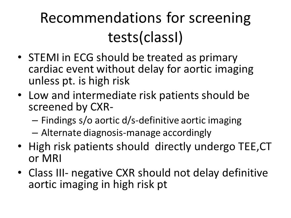 Recommendations for screening tests(classI)