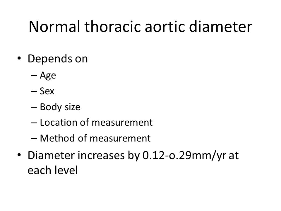 Normal thoracic aortic diameter