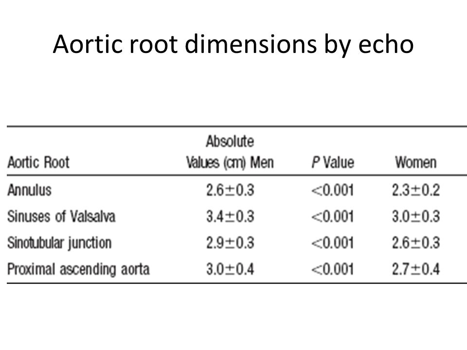 Aortic root dimensions by echo