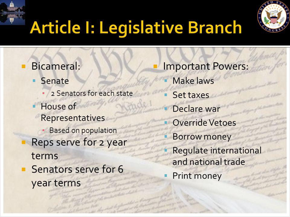 Article I: Legislative Branch