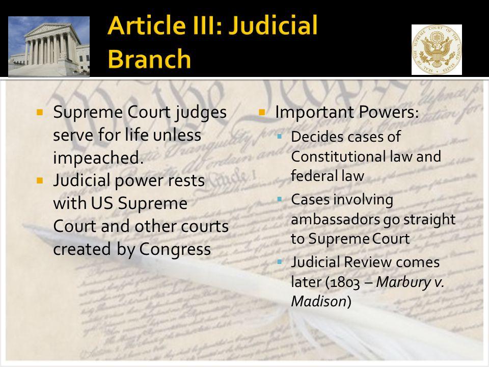 Article III: Judicial Branch