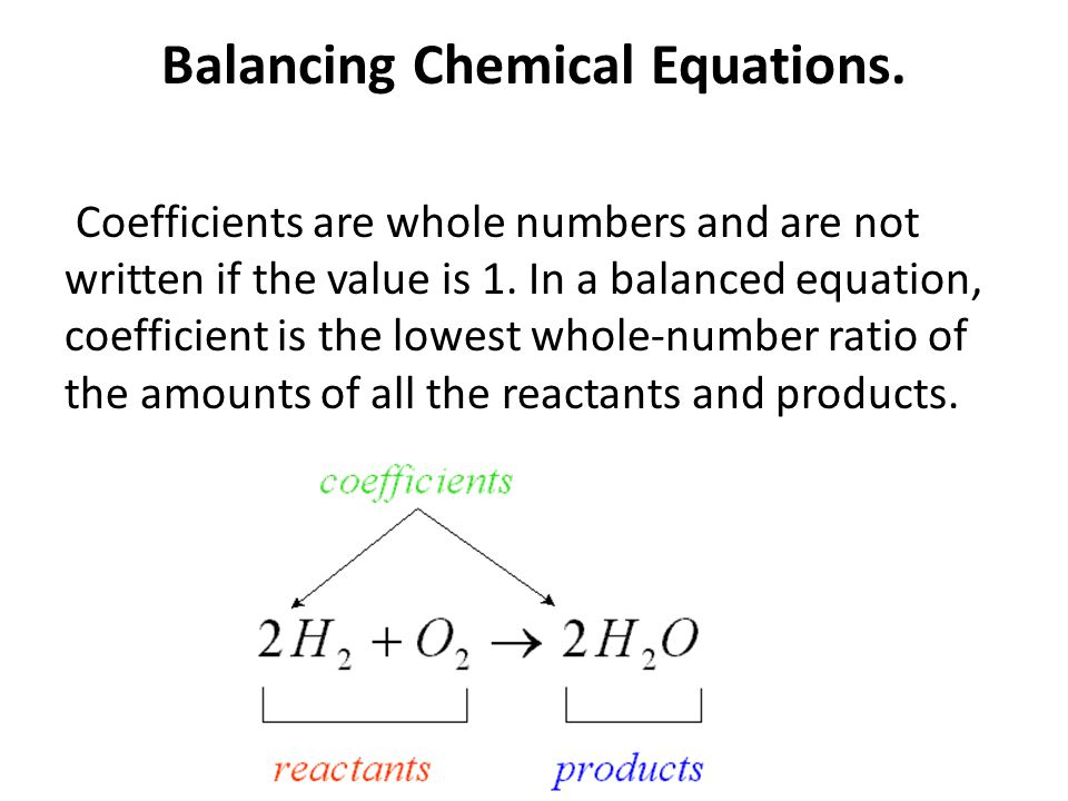 Balancing Chemical Equations.