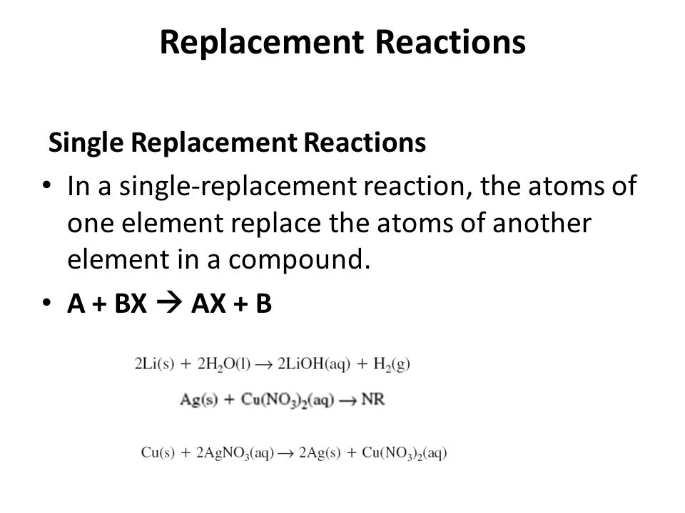 Replacement Reactions