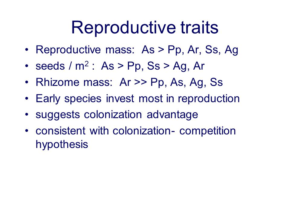 Reproductive traits Reproductive mass: As > Pp, Ar, Ss, Ag