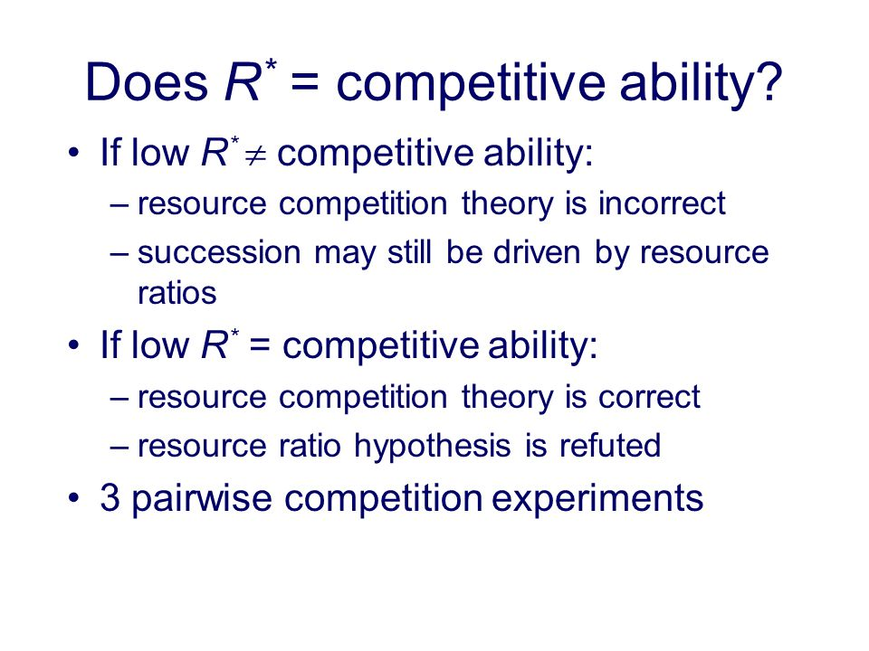 Does R* = competitive ability