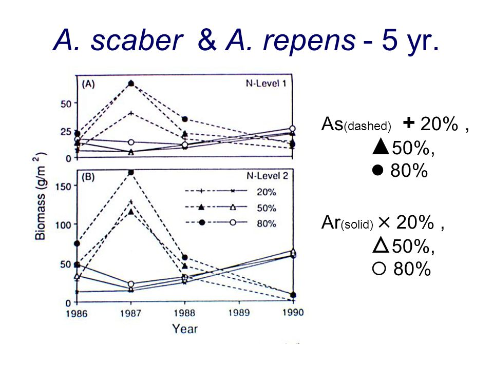 A. scaber & A. repens - 5 yr. As(dashed) + 20% , 50%,  80%