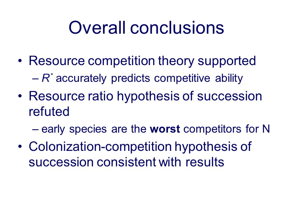 Overall conclusions Resource competition theory supported