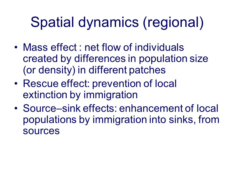 Spatial dynamics (regional)
